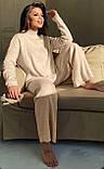 Жіночий теплий ангоровый костюм з брюками палаццо вільний м'ятний бежевий сірий світлий 42-44 46-48, фото 3