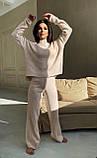 Жіночий ангоровый костюм теплий з брюками палаццо вільний м'ятний бежевий сірий світлий 42-44 46-48, фото 3