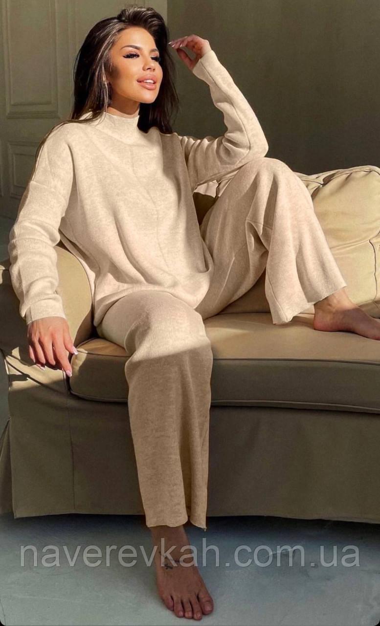 Жіночий ангоровый костюм теплий з брюками палаццо вільний м'ятний бежевий сірий світлий 42-44 46-48