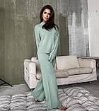 Жіночий ангоровый костюм теплий з брюками палаццо вільний м'ятний бежевий сірий світлий 42-44 46-48, фото 5