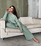 Жіночий ангоровый костюм теплий з брюками палаццо вільний м'ятний бежевий сірий світлий 42-44 46-48, фото 6