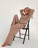Жіночий ангоровый костюм теплий з брюками палаццо вільний м'ятний бежевий сірий світлий 42-44 46-48, фото 7