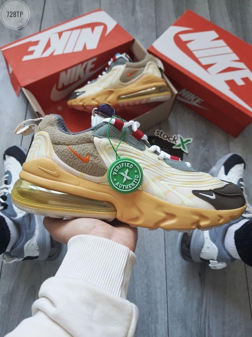 Мужские кроссовки Nike x Travis Scott Air Max 270 (разноцветные) 728TP модные молодежные кроссы