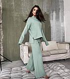 Теплый ангоровый костюм женский с брюками палаццо свободный мятный бежевый серый светлый 42-44 46-48, фото 3