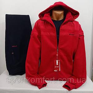 Тёплый прогулочный костюм Турция FORE  тринитка брюки прямые съёмный капюшон 70 хлопок красный тёмно-синий