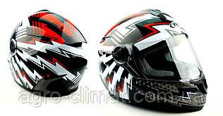Шлем для мотоцикла HF - 122 BLACK WHITE RED FLASH глянец