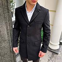 Мужское пальто демисезонное из стрейч-кашемира черного цвета