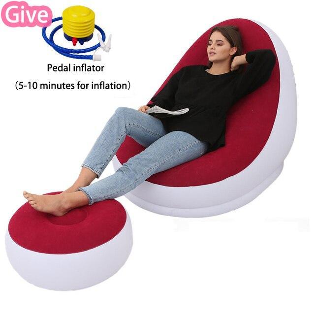 Надувне крісло. Диван-ліжко для відпочинку з пуфом