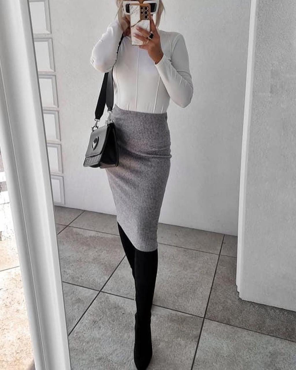 Женская юбка, трикотаж рубчик, р-р 42-44; 44-46 (серый)