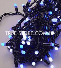 Гірлянда вулична 100 LED 10метров, каучук провід 2.2 мм, Синій-Білий колір