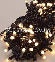 Вулична 100 LED 10м, чорний каучук 2.2 мм , теплий білий