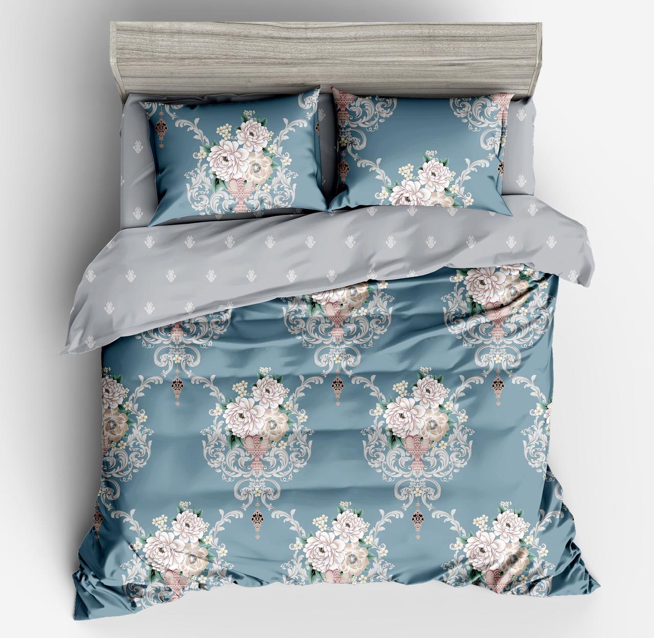 Комплект постельного белья Bella Villa сатин Евро серо-голубой