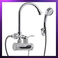 Проточный водонагреватель смеситель кран и лейка для ванны с нагревом ZERIX ELW08-EPW (с индик. темп. и УЗО)