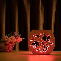 """Світильник нічник ArtEco Light з дерева LED """"Акваріум"""" з пультом та регулюванням кольори, RGB"""