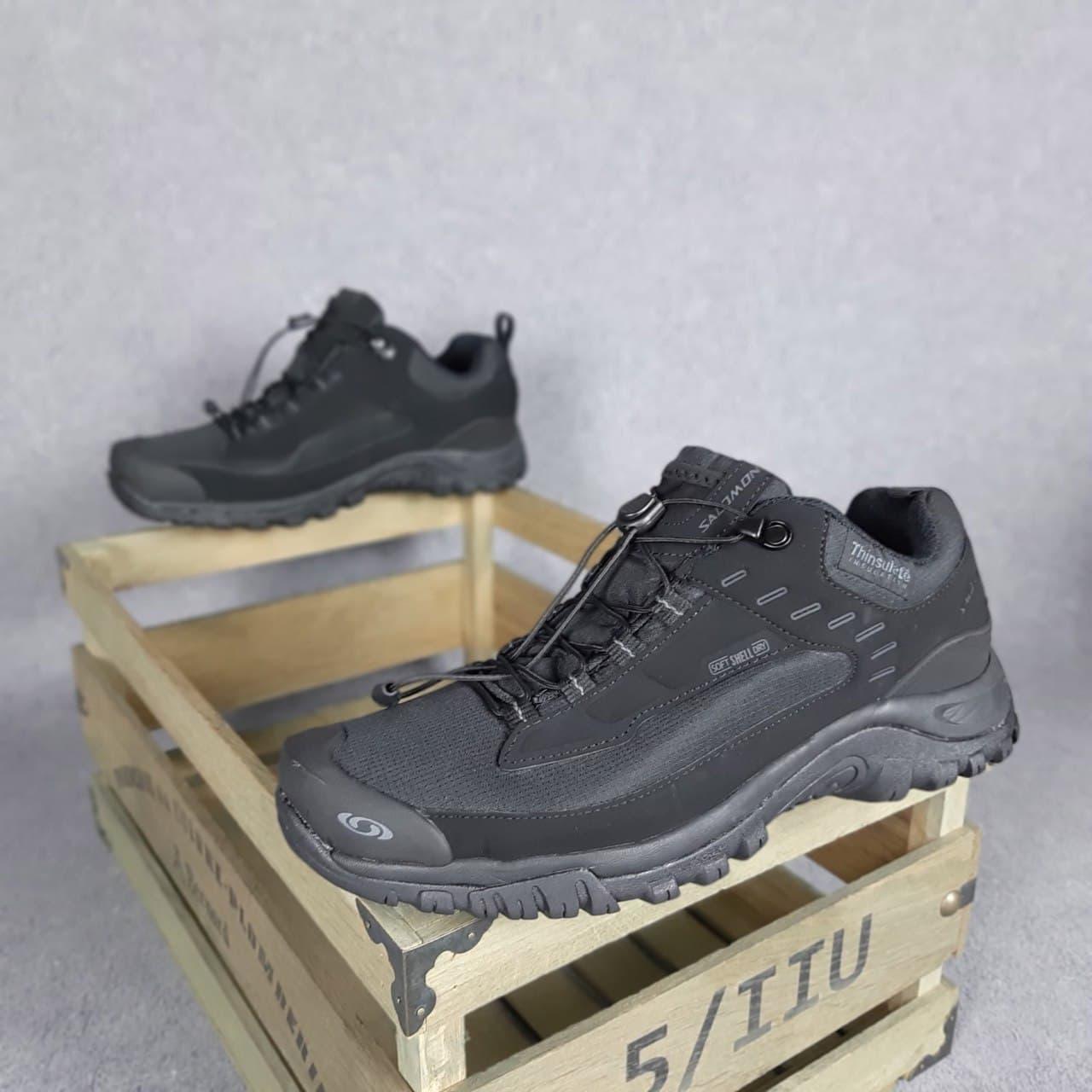 Мужские зимние кроссовки Salomon soft shell dry (черные) О3691 повседневные теплые кроссы