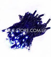 Гірлянда вулична 100LED+FLASH, 10метров, чорний каучук 2мм, Синій колір