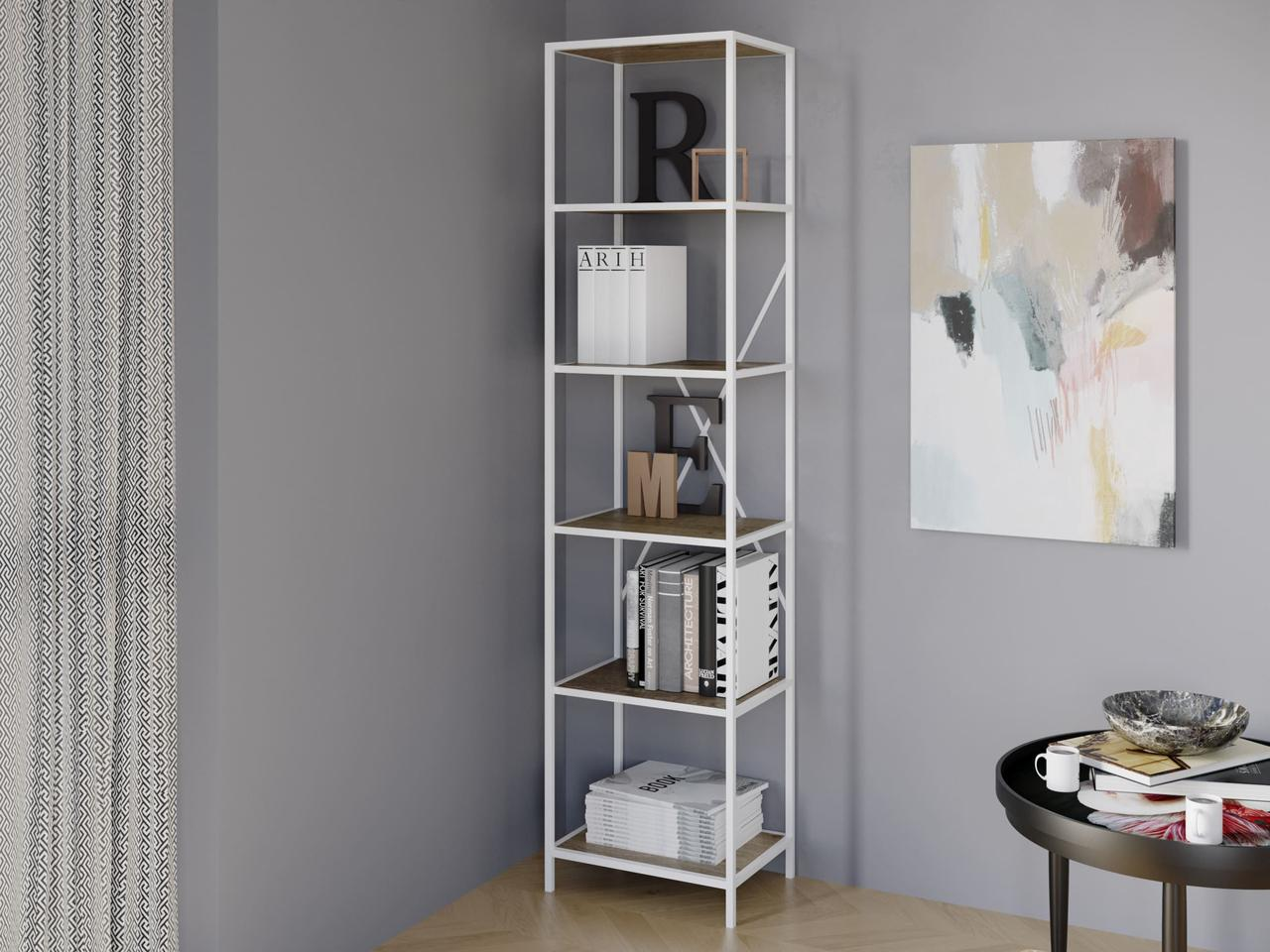 Книжный лофтовый стеллаж на 5 полок из ДСП VZ-51