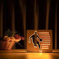 """Світильник нічник ArtEco Light з дерева LED """"Баскетболіст з м'яким м'яча"""" з пультом та регулюванням світла"""