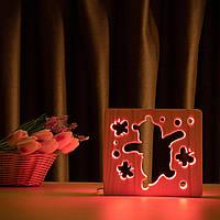 """Світильник нічник ArtEco Light з дерева LED """"Веселий ведмедик"""" з пультом та регулюванням кольори, RGB"""