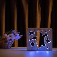 """Світильник нічник ArtEco Light з дерева LED """"Веселий ведмедик"""" з пультом та регулюванням кольору, подвійний"""