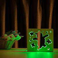 """Світильник нічник ArtEco Light з дерева LED """"Веселий ведмедик"""" з пультом та регулюванням світла, колір теплий"""