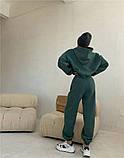 Жіночий спортивний костюм на флісі з трехнити беж молочний чорний зелений 42-44 46-48 оверсайз, фото 2