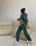 Жіночий спортивний костюм на флісі з трехнити беж молочний чорний зелений 42-44 46-48 оверсайз, фото 4