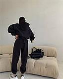 Жіночий спортивний костюм на флісі з трехнити беж молочний чорний зелений 42-44 46-48 оверсайз, фото 5