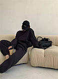 Жіночий спортивний костюм на флісі з трехнити беж молочний чорний зелений 42-44 46-48 оверсайз, фото 7