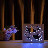 """Світильник нічник ArtEco Light з дерева LED """"Дві акули і рибки"""" з пультом та регулюванням кольору, RGB"""