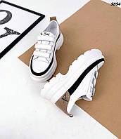 Женские кожаные кроссовки на липучке 36-41 р белый+чёрный