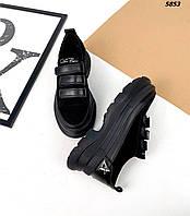 Женские замшевые кроссовки на липучке 36-41 р чёрный