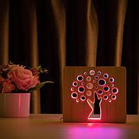 """Світильник нічник ArtEco Light з дерева LED """"Деревце"""" з пультом та регулюванням кольору, подвійний RGB"""