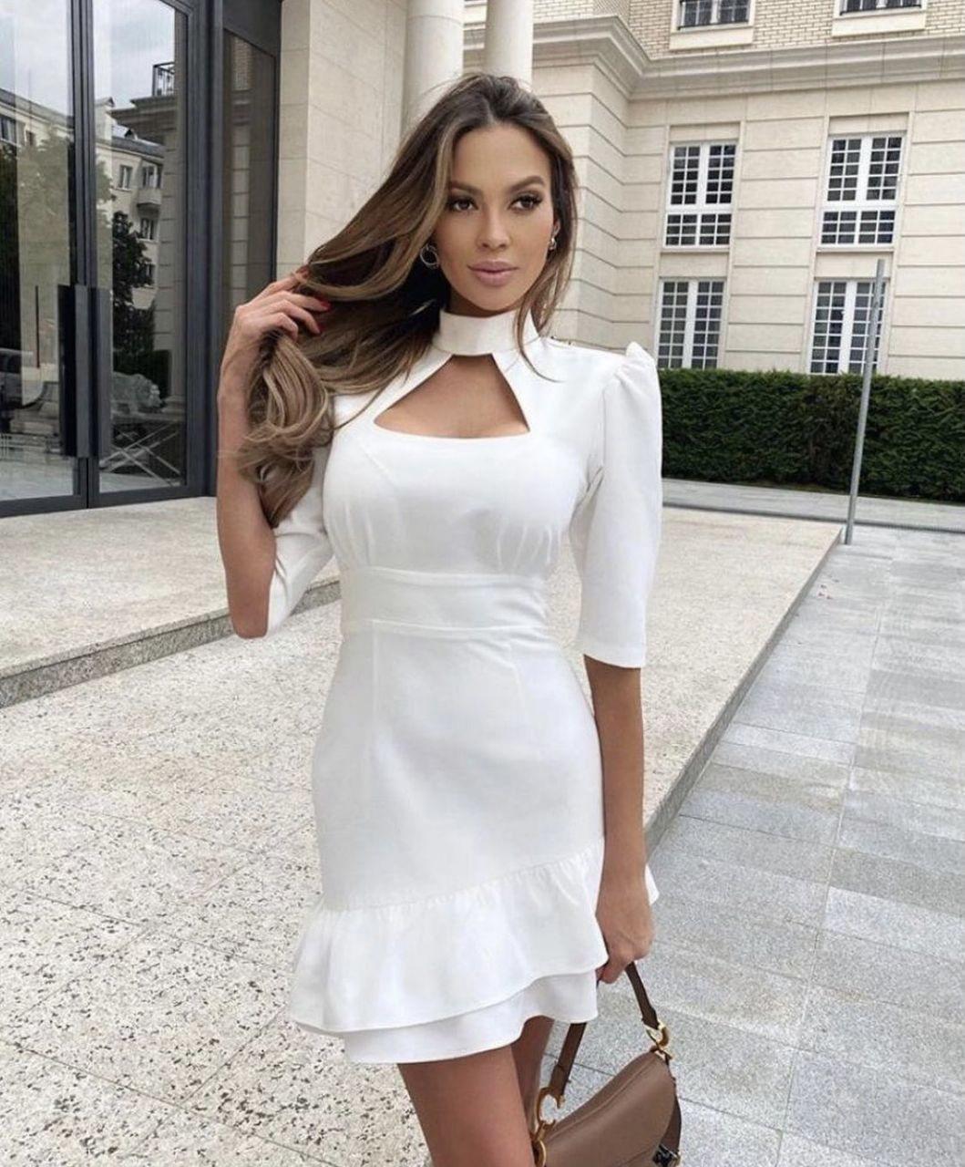 Жіноче плаття, креп-костюмка, р-р 42-44; 44-46 (білий)