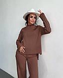 Жіночий ангоровый костюм з широкими брюками палаццо чорний беж оликовый мокко 42-44 46-48 теплий рубчик, фото 7
