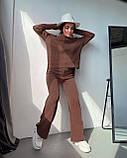 Женский ангоровый костюм с широкими брюками палаццо черный беж оликовый мокко 42-44 46-48 теплый рубчик, фото 5
