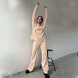 Жіночий ангоровый костюм з широкими брюками палаццо чорний беж оликовый мокко 42-44 46-48 теплий рубчик, фото 4