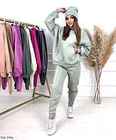 Теплый стильный молодежный костюм женский спортивный на флисе штаны и кофта свободного кроя р-ры 42-44,46-48