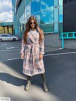 Стильное кашемировое длинное пальто осеннее на запах с поясом с карманами в клетку р-ры 42-46 арт. 313