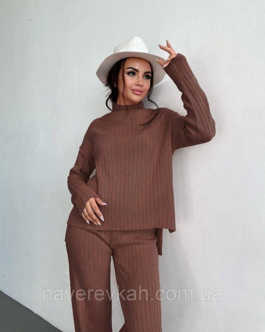 Жіночий ангоровый костюм з широкими брюками палаццо чорний беж оликовый мокко 42-44 46-48 теплий рубчик