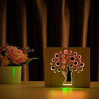"""Світильник нічник ArtEco Light з дерева LED """"Деревце"""" з пультом та регулюванням світла, колір теплий білий"""