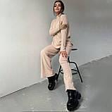 Женский ангоровый костюм с широкими брюками палаццо черный беж оликовый мокко 42-44 46-48 теплый рубчик, фото 6