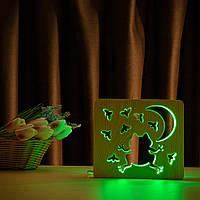 """Світильник нічник ArtEco Light з дерева LED """"Жабка та цвіркуни"""" з пультом та регулюванням кольори, RGB"""