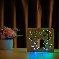 """Світильник нічник ArtEco Light з дерева LED """"Жабка та цвіркуни"""" з пультом та регулюванням кольору, подвійний"""
