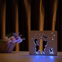 """Світильник нічник ArtEco Light з дерева LED """"Кіт та мишка під місяцем"""" з пультом та регулюванням кольори, RGB"""
