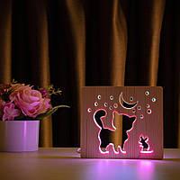 """Світильник нічник ArtEco Light з дерева LED """"Кіт та мишка під місяцем"""" з пультом та регулюванням кольору"""