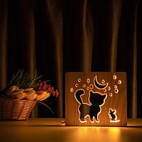 """Світильник нічник ArtEco Light з дерева LED """"Кіт та мишка під місяцем"""" з пультом та регулюванням світла, колір"""