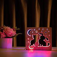 """Світильник нічник ArtEco Light з дерева LED """"Кіт та песик"""" з пультом та регулюванням кольору, подвійний RGB"""