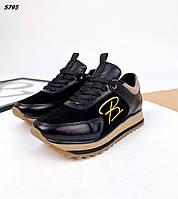 Женские кожаные кроссовки на шнуровке 36-41 р чёрный