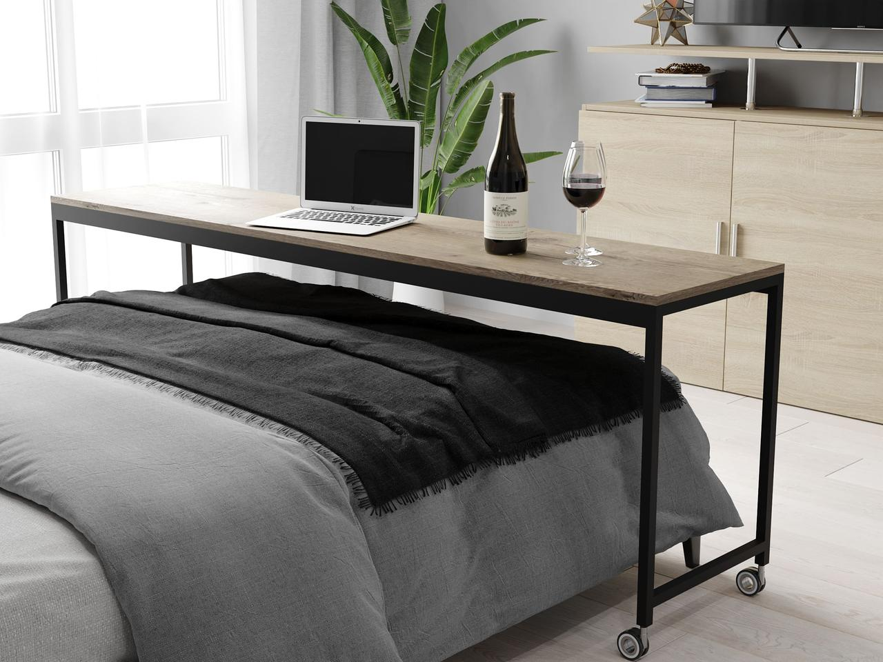 Приставний журнальний столик до ліжка в стилі лофт з ДСП. КОД: VZ-54